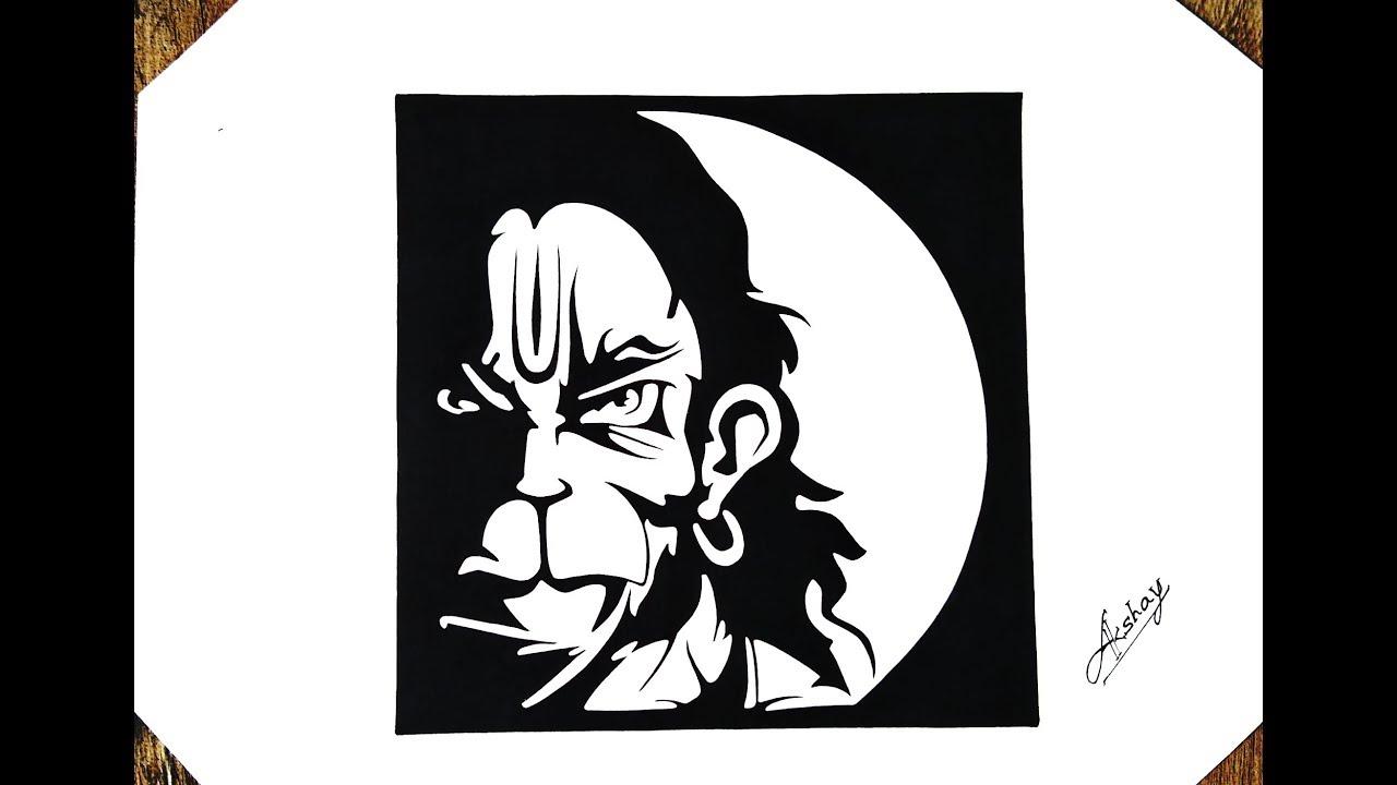 a0cbb7e510a73 How to draw Lord Hanuman - Stencil art - Art Maker Akshay - YouTube
