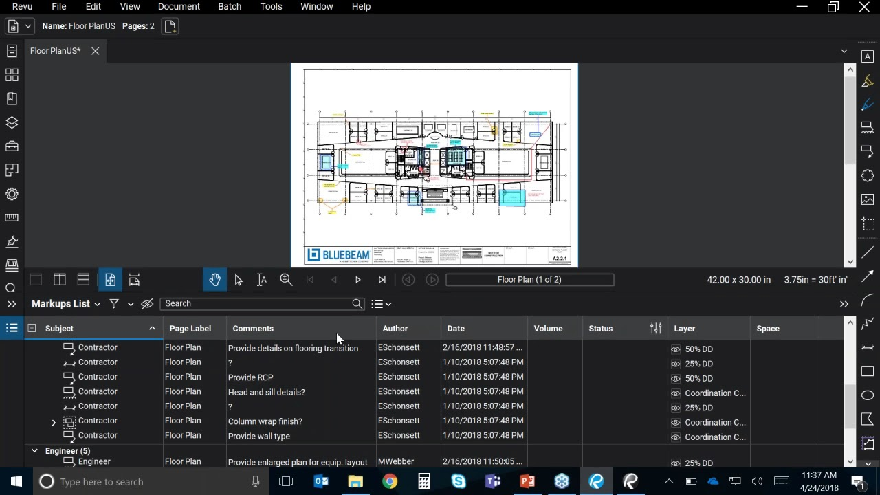 What's New in Bluebeam Revu 2018: Markups List