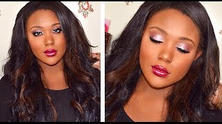 Drugstore Makeup Tutorial I Black Women Foundation, Highlight, Powder (DARK SKIN )