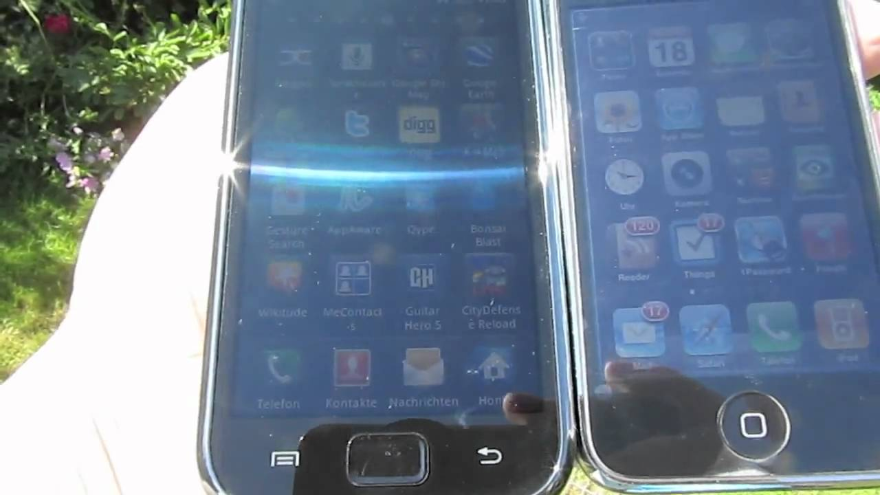 samsung galaxy s i9000 vs iphone 3gs display comparison. Black Bedroom Furniture Sets. Home Design Ideas
