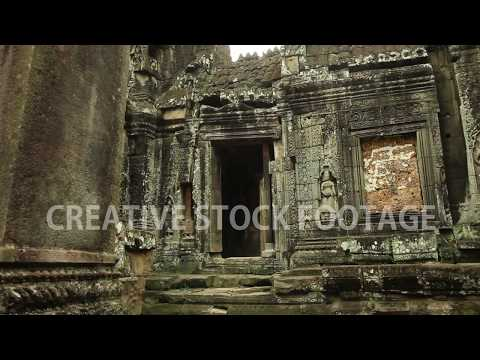 Temple sculptures and architecture, smooth tracking shot, Banteay Kdei temple in Angkor Wat area