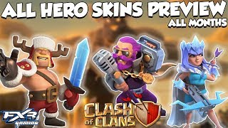 ALL HERO SKINS PREVIEW INGAME MONTHWISE || Clash Of Clans All Leaked Skins Preview