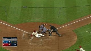 ATL@STL: Piscotty knocks sac fly for first MLB RBI