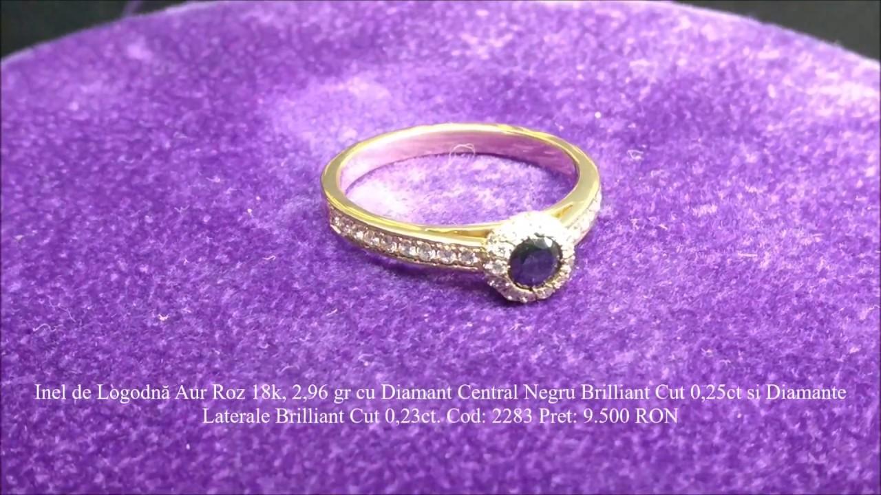 Adam Eve Diamonds Inel De Logodna Aur Roz Cu Diamant Negru Si