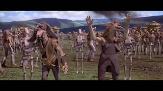 Дроиды берут в плен гунганов. Королева Амидала и капитан Панака берут в плен Наместника. HD