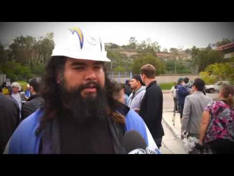 Chargers fans react to LA news at Chargers Park