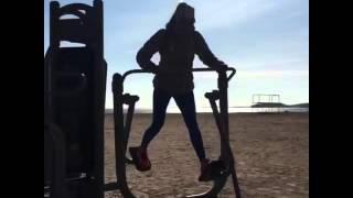 Fitness Girl In Blue Lycra Leggings