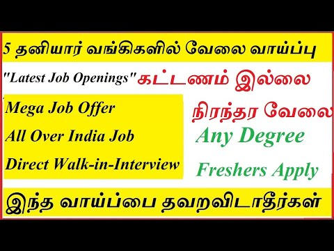 Top 5 Private Bank Jobs | Latest Bank Jobs | Latest private bank jobs | Direct recruitment in Banks
