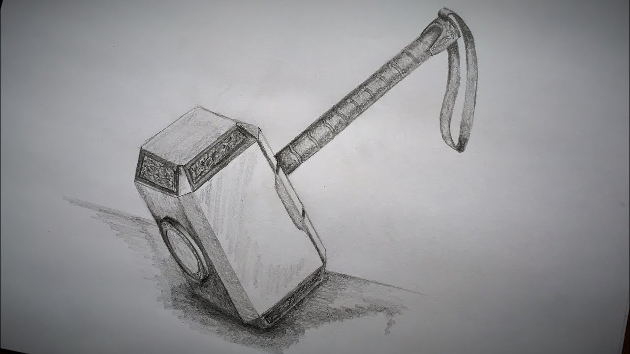 This is a graphic of Magic Thor Hammer Drawing