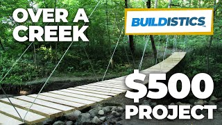 http://DIYSuspensionBridge.com How to build a suspension bridge. Cost: approx. $500. Time to complete: 40 hours. Download the