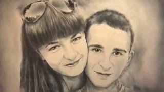 Портрет пары / Portrait of guy and girl / Сухая кисть