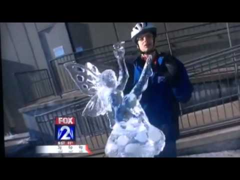 Thumbnail: News reporter crashes ice carving