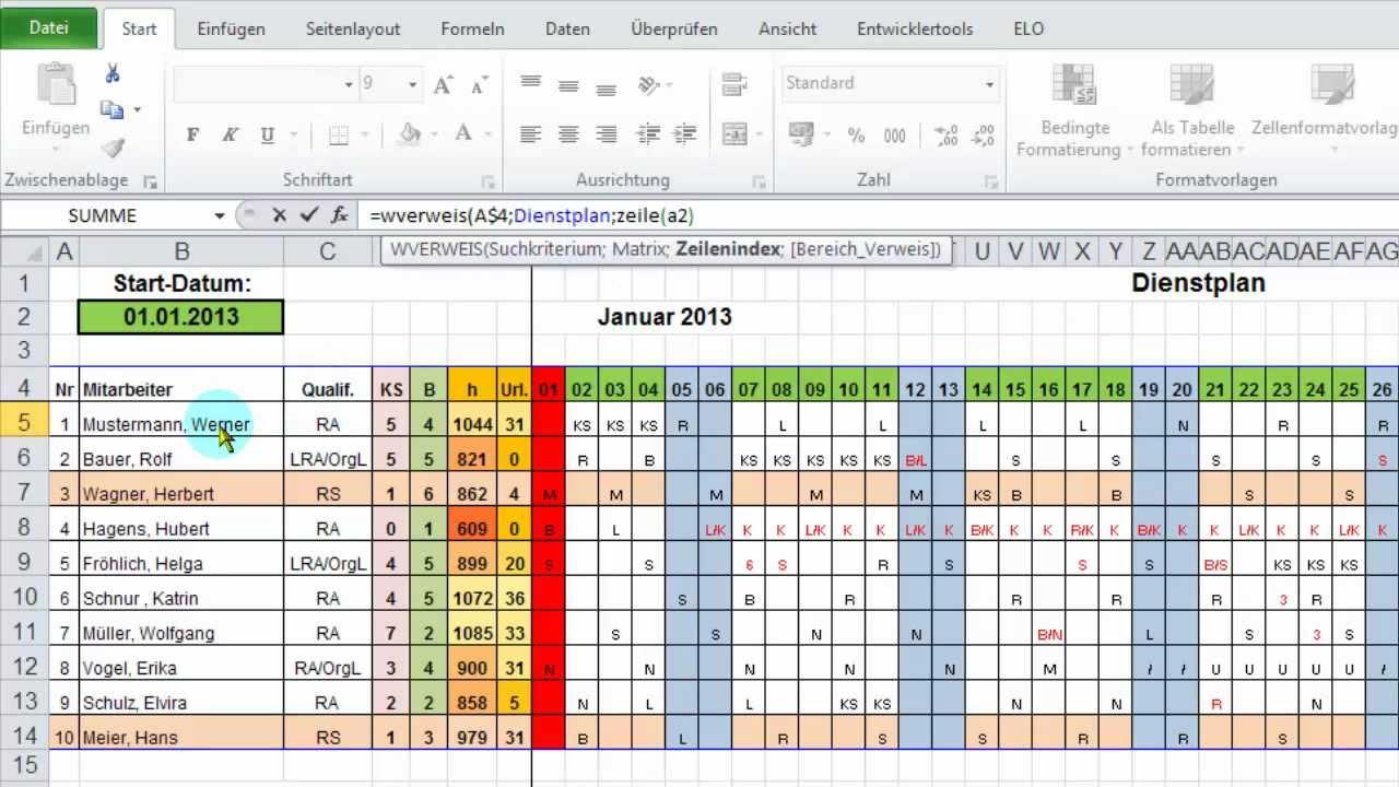 EXCEL: Monatsübersicht aus Jahres-Dienstplan ausgeben per WVerweis ...