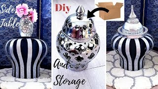 DIY 3 IN 1 SIDE TABLE, VASE AND STORAGE USING BOXES! INEXPENSIVE DECOR IDEAS 2019