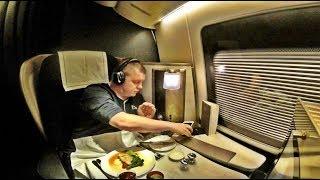 British airways first class flight, boeing 777-200 - houston to london!
