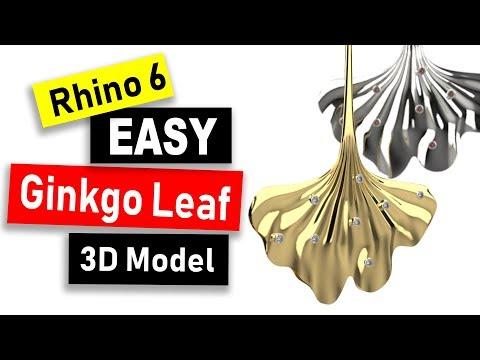 Ginkgo Leaf Earring 3D Model in Rhino 6: Jewelry CAD Design Tutorial #79