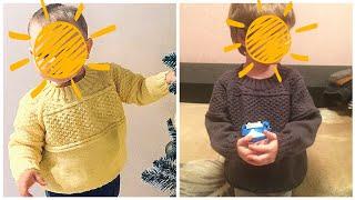 Детский свитер на мальчика спицами. Реглан сверху. 2 часть