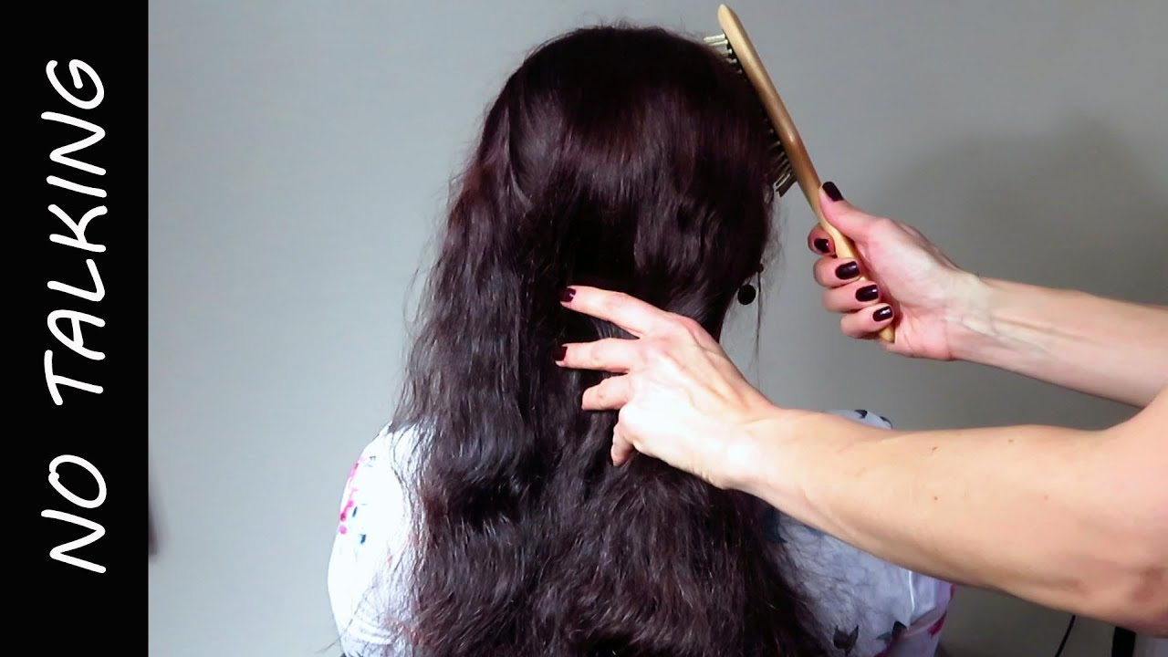 Relaxing hair brush and play with long hair no talking ASMR