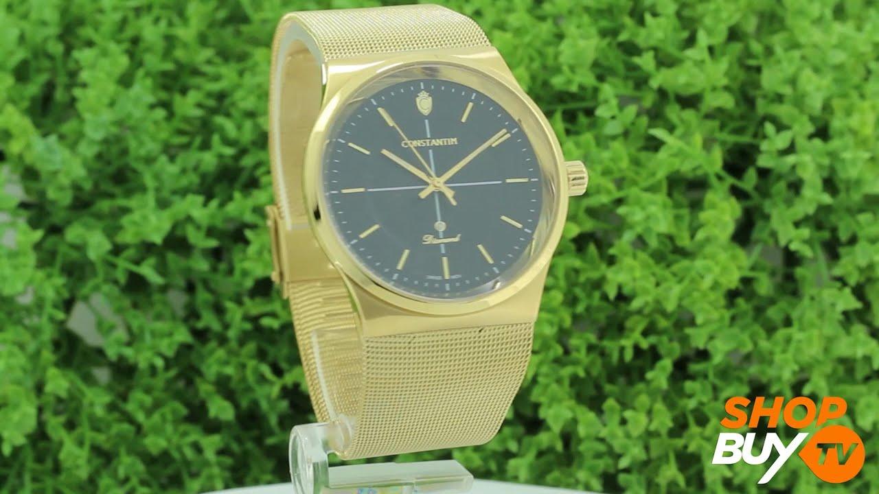 43254c070e6 Relógio Constantim Diamond Gold Black 6351G-GB - ShopBuy - YouTube