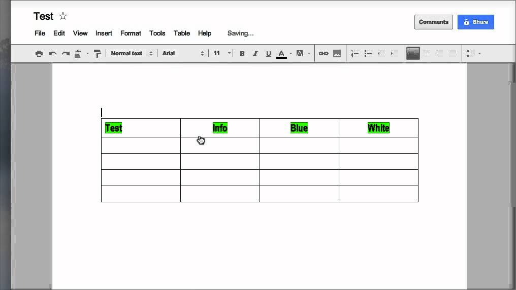 Creating  Formatting tables in Google Docs
