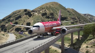 AirAsia A330 Emergency On California Highway After Engines Failure | GTA 5