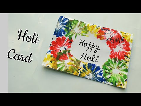 Handmade Holi Card for Kids/Happy Holi 2018-Simple Holi Greeting Card/Colourful Holi Card Making