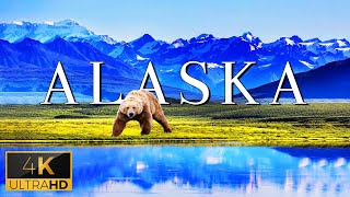 FLYING OVER ALASKA (4K UHD)  Relaxing Music With Stunning Beautiful Nature (4K Video Ultra HD)