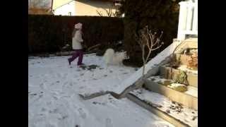 Großspitz Bella Mit Kind Anna Fußball Spielen Im Schnee 24.01.12  .mp4