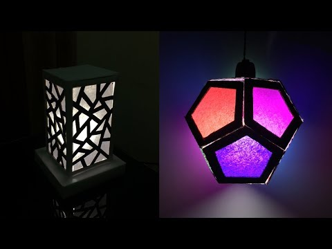 DIY Recycled Cardboard lampshade Ideas | DIY Night Lamp | Home Decor Lighting Crafts