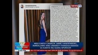 Miss Earth Canada Jamie Vandenberg, inireklamo ang umano'y pangha-harass sa kanya ng isang sponsor