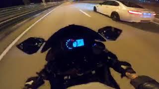 Девочка на 200 км в час впоймал а воблинг на kawasaki zx636.