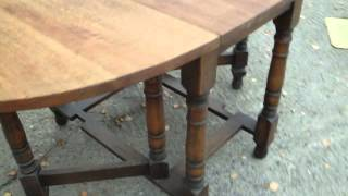 Vintage Oak Gateleg Table With Stripped Top