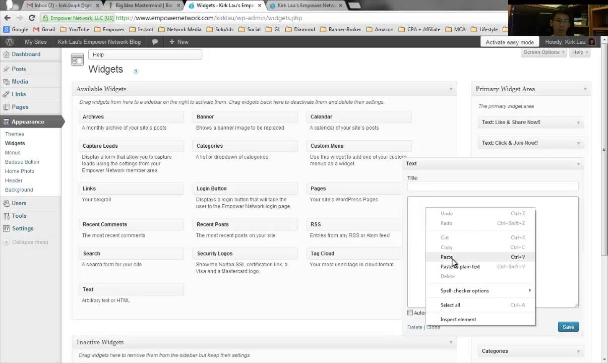 Wordpress Blogging How To Add A Banner Ad At The Side Bar Of Your Wordpress Blog Youtube