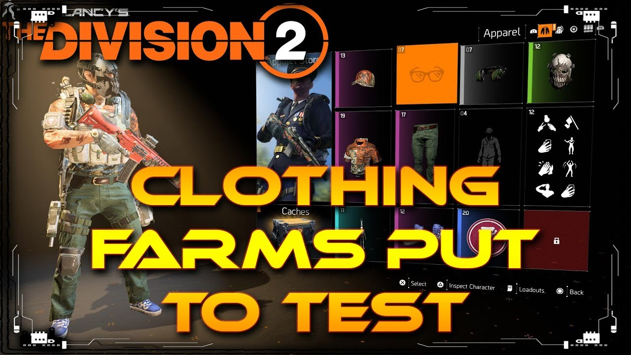 The Division 2 All Apparel And Cosmetic Loot Farms Put To The Test |  Crafting Material farm