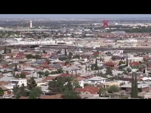 """Downtown El Paso & """"X"""" in Ciudad Juárez, Mexico: Scenic view from El Paso Circle Drive 2015-05-20"""
