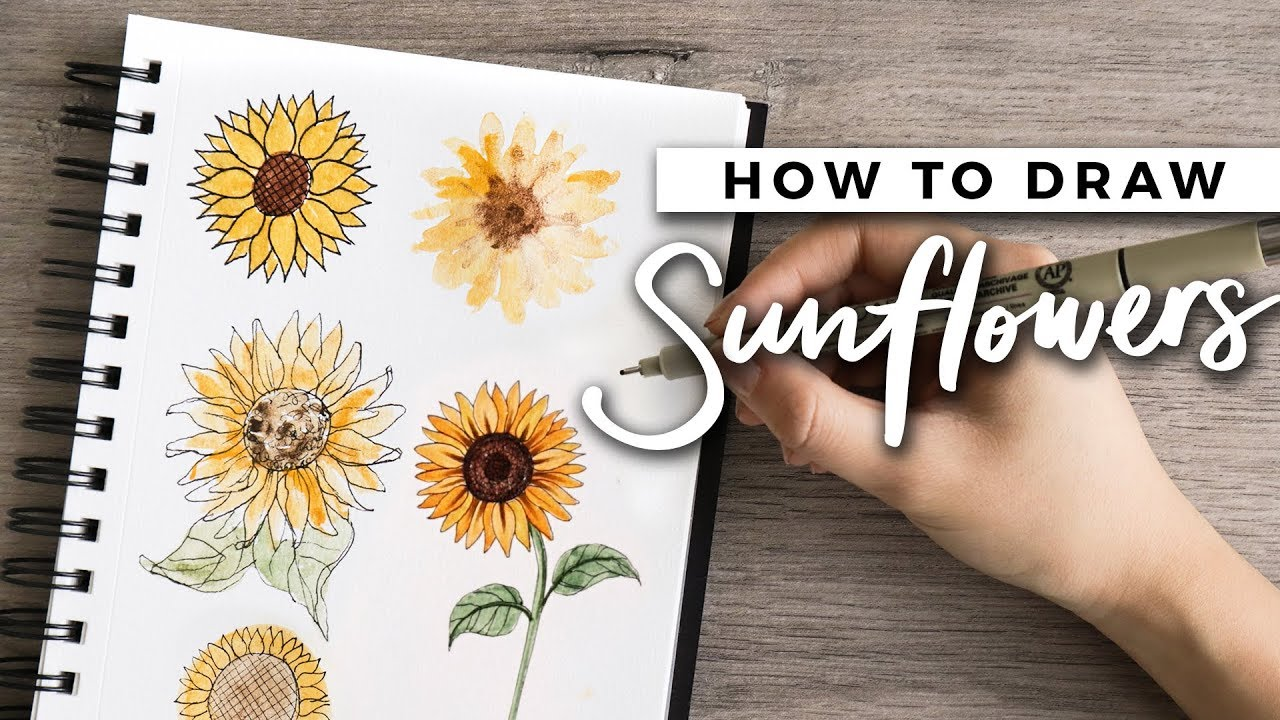 How To Draw Sunflowers Doodle With Me Tutorial Youtube