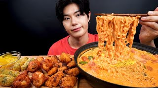 SUB) 요즘 핫한 로제 신라면, 치킨봉, 김말이 튀김 먹방_Rosé Shin Ramyun, Chicken Stick, Deep Fried Seaweed Realsound