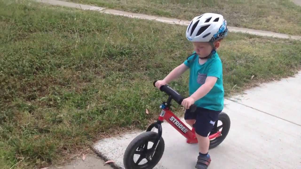 2 yr old progression on Strider balance bike - YouTube