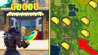 """Visit Different Taco Shops in a Single Match"" ALL Taco Shop Locations Fortnite Week 9 Challenges!"