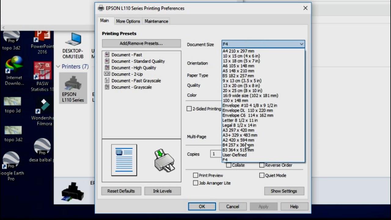 Cara Menambahkan Ukuran Kertas F4 Pada Printer Epson L120 L110 Youtube
