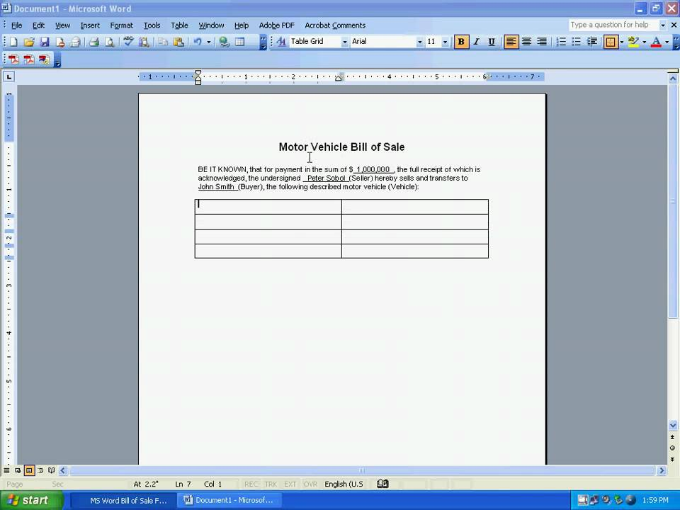ms word bill of sale