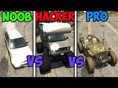 BeamNG Drive - Noob VS Pro Vs Hacker #5 (Crashes & Stunts)