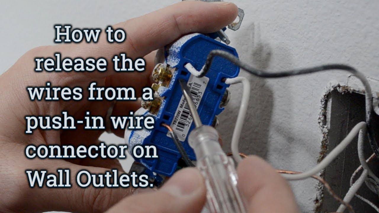how to release wires from a push in connection on electrical wall rh youtube com 110V Outlet Wiring Diagram Single Outlet Wiring