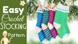 Easy Top Down Crochet Christmas Stocking