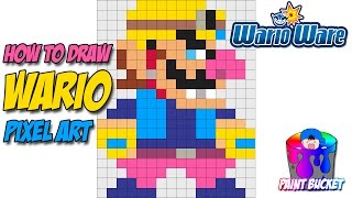 How to Draw Wario - Super Mario Maker 8-Bit Pixel Art Drawing Tutorial