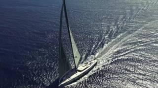 SY Sarissa in Tetiaroa with new square top main sail
