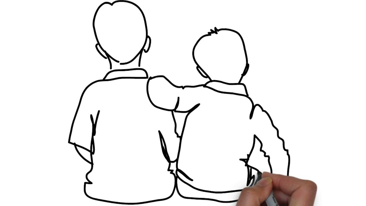 How To Draw Boy With Friend Easy Drawing 2019 Youtube