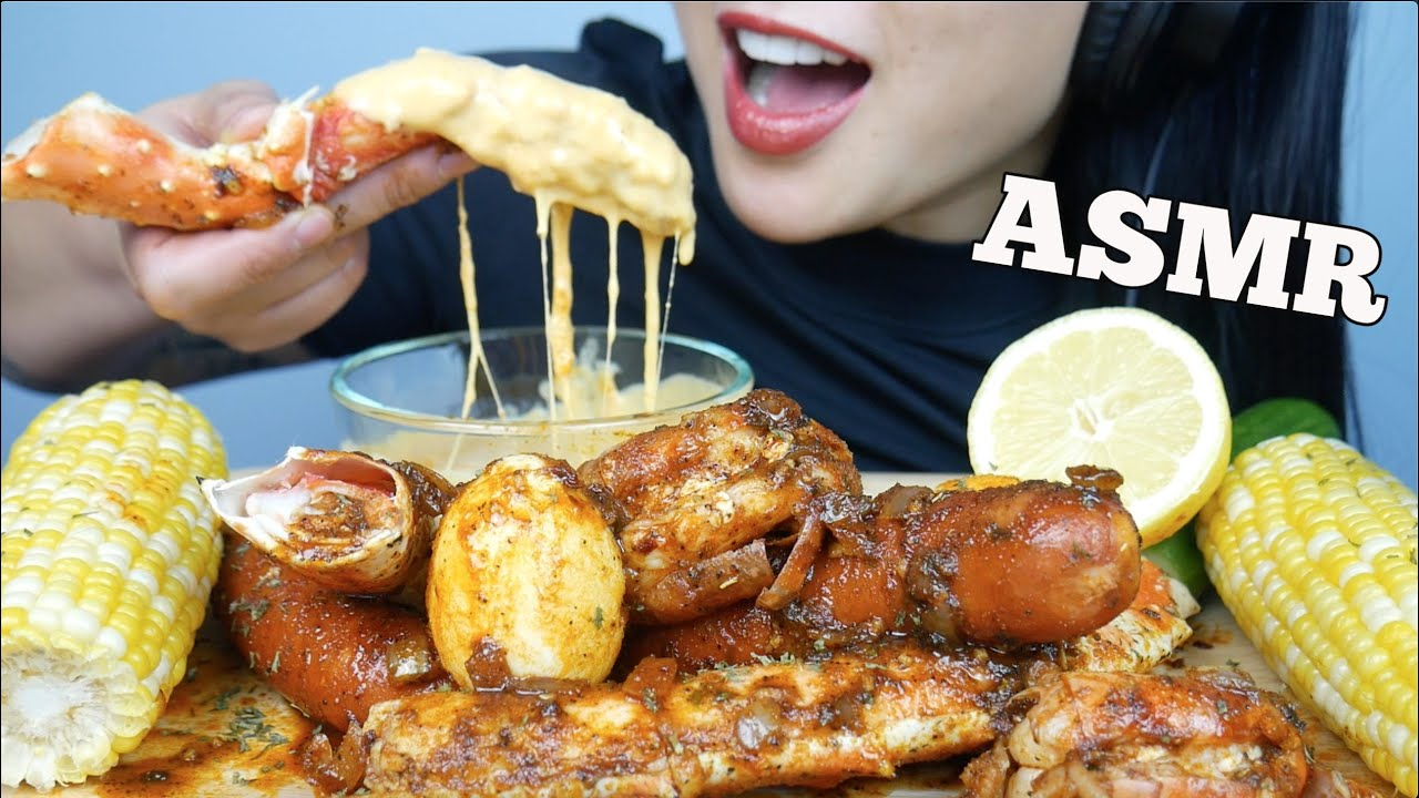 Download ASMR SEAFOOD BOIL *KING CRAB LEGS + SAUSAGE AND *CHEESE SAUCE (EATING SOUNDS) NO TALKING | SAS-ASMR