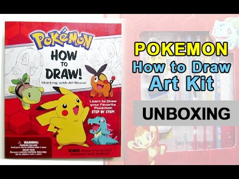 Pokemon how to draw art kit unboxing and book flip through
