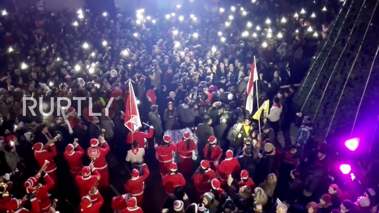 syria jubilant syrians gather for christmas celebration in west aleppo youtube